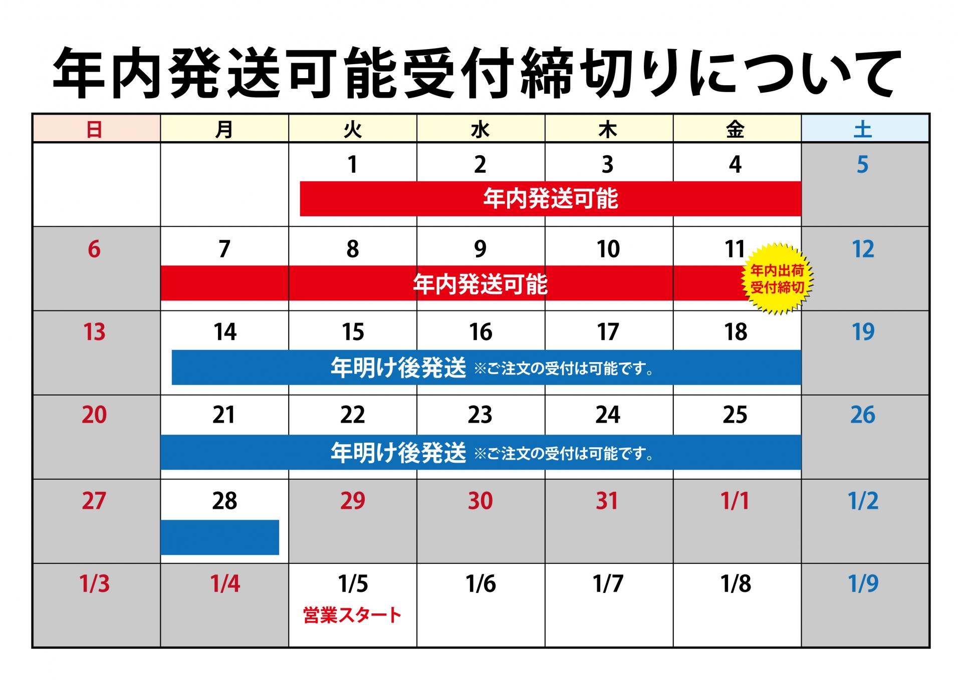 【Photorna】年内最終出荷日について